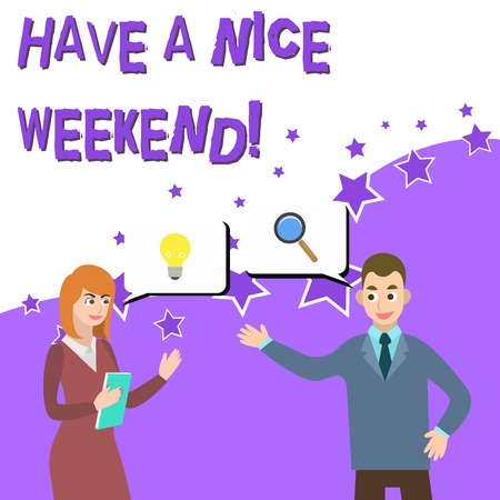 Word writing text Have A Nice Weekend. Business photo showcasing wishing someone that something nice happen holiday Business Partners Colleagues Jointly Seeking Problem Solution Generate Idea 스톡 콘텐츠