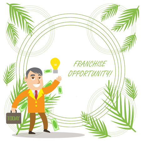 Conceptual hand writing showing Franchise Opportunity. Concept meaning Business License Privilege Owner to Dealer Affiliation Successful Businessman Generating Idea or Finding Solution