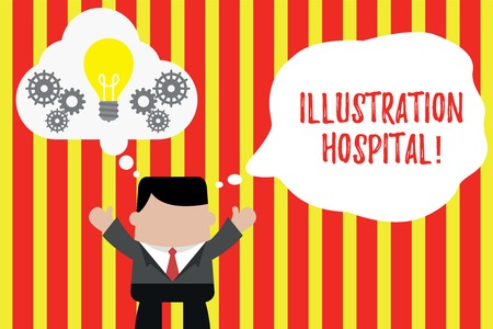 Writing note showing Illustration Hospital. Business concept for unique Applied Art of Medical Institution and Practice Man hands up imaginary bubble light bulb working together