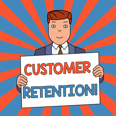 Word writing text Customer Retention. Business photo showcasing Keeping loyal customers Retain analysisy as possible Smiling Man Holding Formal Suit Big Blank Poster Board in Front of Himself