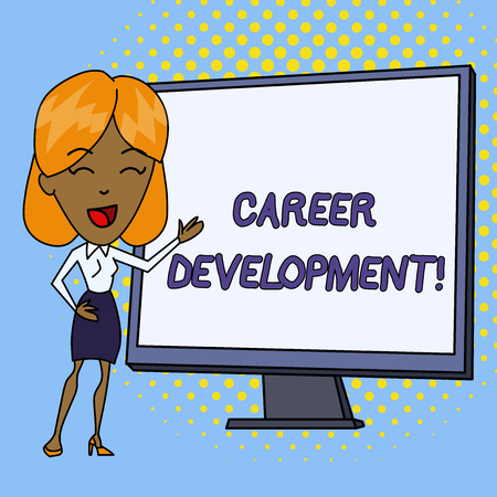 Word writing text Career Development. Business photo showcasing Lifelong learning Improving skills to get a better job White Female in Standing Pointing Blank Screen Whiteboard Presentation