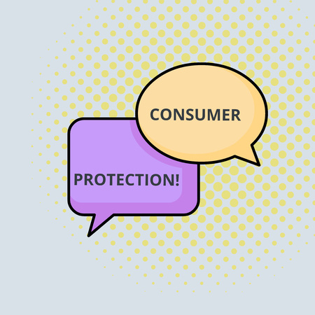 Text sign showing Consumer Protection. Business photo text Fair Trade Laws to ensure Consumers Rights Protection Pair of Overlapping Blank Speech Bubbles of Oval and Rectangular Shape