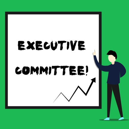 Writing note showing Executive Committee. Business concept for Group of Directors appointed Has Authority in Decisions Young man standing pointing up rectangle Geometric background 스톡 콘텐츠 - 124243848