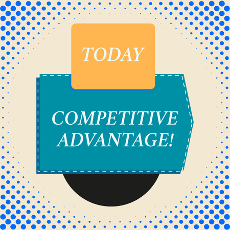 Writing note showing Competitive Advantage. Business concept for Company Edge over another Favorable Business Position Rectangle square above semicircle down Geometrical background 写真素材