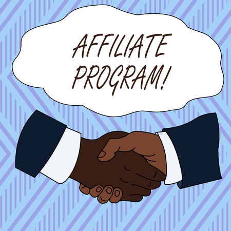 Conceptual hand writing showing Affiliate Program. Concept meaning Automated platform of two or more parties Associated Hand Shake Multiracial Male Colleagues Formal Shirt Suit 免版税图像