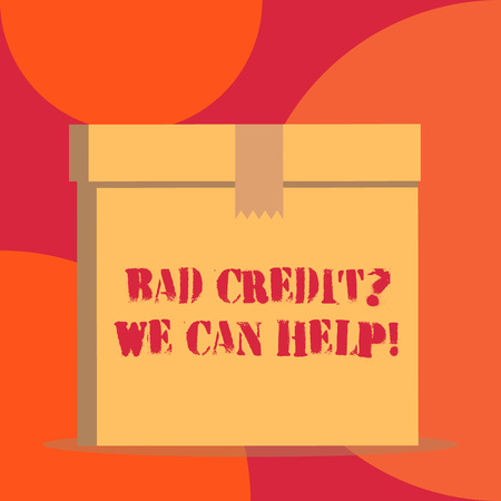 Text sign showing Bad Credit Question We Can Help. Business photo showcasing offering help after going for loan then rejected Close up front view open brown cardboard sealed box lid. Blank background