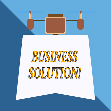 Writing note showing Business Solution. Business concept for Services that include strategic planning and evaluation Drone holding downwards banner. Geometrical abstract background design