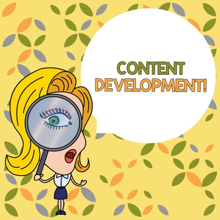 Handwriting text Content Development. Conceptual photo Specialized in Graphic Design Multimedia Documentation Woman Looking Trough Magnifying Glass Big Eye Blank Round Speech Bubble 스톡 콘텐츠