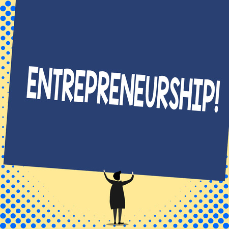 Word writing text Entrepreneurship. Business photo showcasing Process of designing launching and running a new business Back view standing short hair woman dress hands up holding blank rectangle