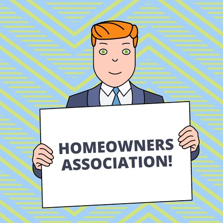 Text sign showing Homeowners Association. Business photo showcasing Organization with fee for upkeeps of Gated Community Smiling Man Holding Formal Suit Big Blank Poster Board in Front of Himself