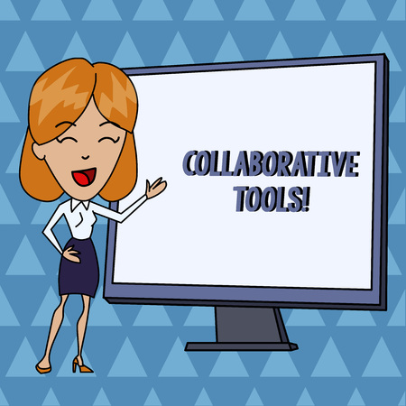 Text sign showing Collaborative Tools. Business photo showcasing Private Social Network to Connect thru Online Email White Female in Standing Pointing Blank Screen Whiteboard Presentation Stock Photo