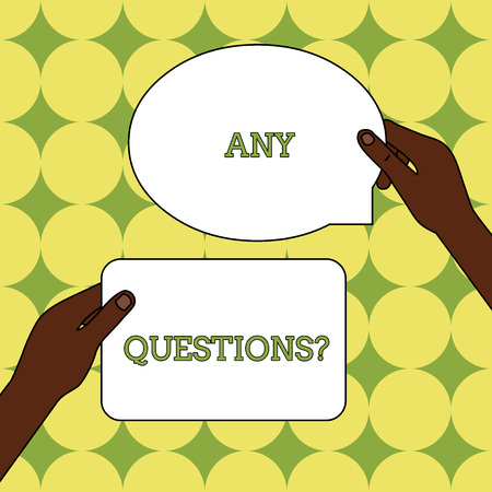 Text sign showing Any Questions Question. Business photo text Asking for inquiry Interrogation Clarification Two Blank Figured Tablets Signs Held in Hands One Above Other Text Space