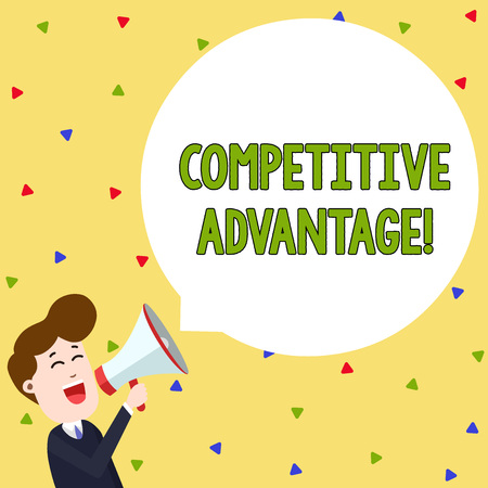 Word writing text Competitive Advantage. Business photo showcasing Company Edge over another Favorable Business Position Young Man Shouting into Megaphone Floating Round Shape Empty Speech Bubble
