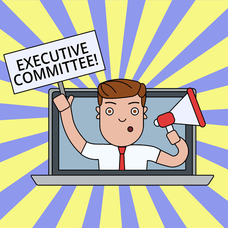 Writing note showing Executive Committee. Business concept for Group of Directors appointed Has Authority in Decisions Man Speaking Through Laptop into Megaphone Plate with Handle
