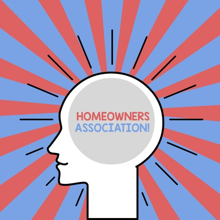 Text sign showing Homeowners Association. Business photo showcasing Organization with fee for upkeeps of Gated Community Outline Silhouette Human Head Surrounded by Light Rays Blank Text Space