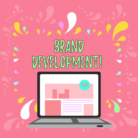 Conceptual hand writing showing Brand Development. Concept meaning Defining the product to excel in the market Promoting Laptop Switched On with Website Homepage Screen Web Search