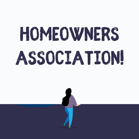 Handwriting text writing Homeowners Association. Conceptual photo Organization with fee for upkeeps of Gated Community Back view young long hair woman holding blank square announcement design