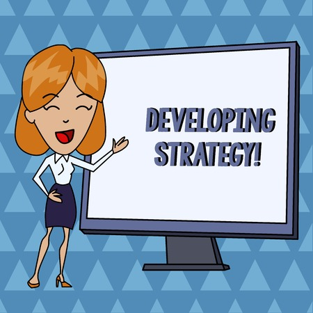 Text sign showing Developing Strategy. Business photo showcasing Organizations Process Changes to reach Objectives White Female in Standing Pointing Blank Screen Whiteboard Presentation