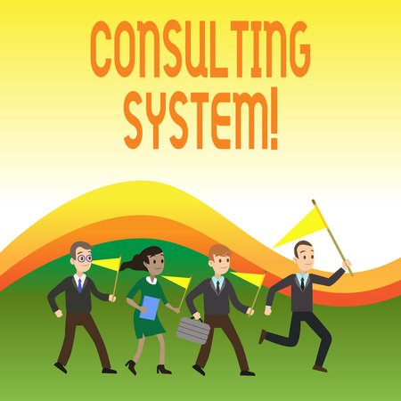 Writing note showing Consulting System. Business concept for Helping firms improve process adequacy and functionality Crowd Flags Headed by Leader Running Demonstration Meeting Stock Photo