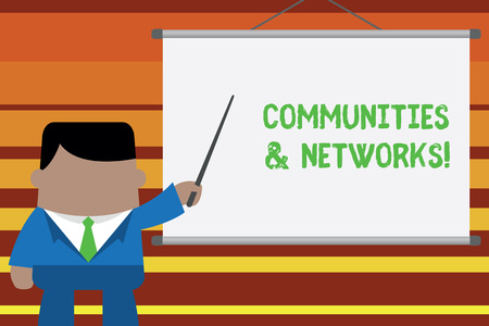 Word writing text Communities And Networks. Business photo showcasing Collaboration of Learnings and Practices of Members Businessman standing in front projector screen pointing project idea