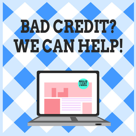 Word writing text Bad Credit Question We Can Help. Business photo showcasing offering help after going for loan then rejected Open Modern Laptop Switched On with Website Homepage on Screen Web Search