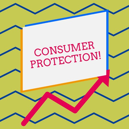 Word writing text Consumer Protection. Business photo showcasing Fair Trade Laws to ensure Consumers Rights Protection Irregular edging arrow line on the bottom of parallelogram blank papers