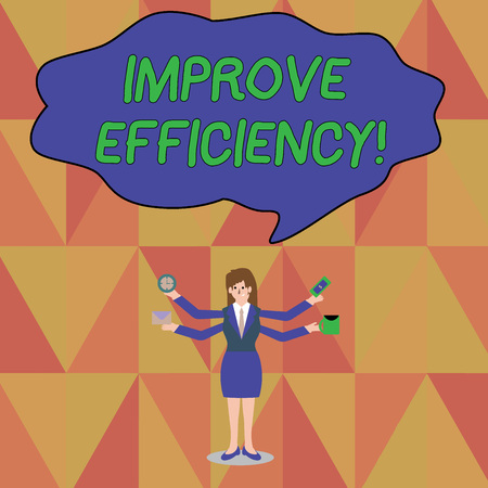 Word writing text Improve Efficiency. Business photo showcasing Competency in perforanalysisce with Least Waste of Effort Businesswoman with Four Arms Extending Sideways Holding Workers Needed Item