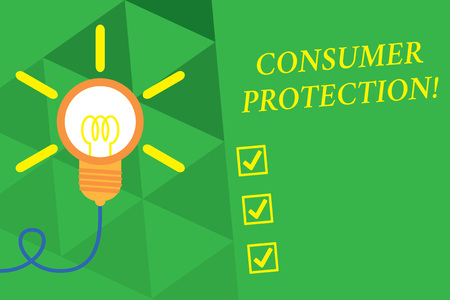 Word writing text Consumer Protection. Business photo showcasing Fair Trade Laws to ensure Consumers Rights Protection Big idea light bulb. Successful turning idea invention innovation. Startup Stock Photo