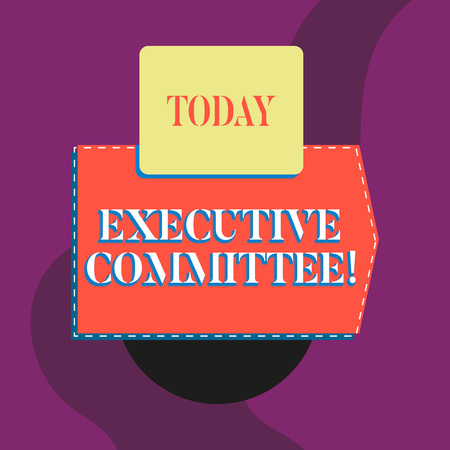 Writing note showing Executive Committee. Business concept for Group of Directors appointed Has Authority in Decisions Blank banner rectangle square above semicircle Geometrical background 스톡 콘텐츠 - 124244690