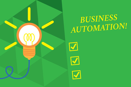 Word writing text Business Automation. Business photo showcasing for Digital Transformation Streamlined for Simplicity Big idea light bulb. Successful turning idea invention innovation. Startup Stok Fotoğraf