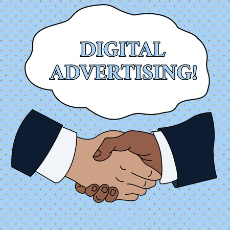 Word writing text Digital Advertising. Business photo showcasing Online Marketing Deliver Promotional Messages Campaign Hand Shake Multiracial Male Business Partners Colleagues Formal Shirt Suit