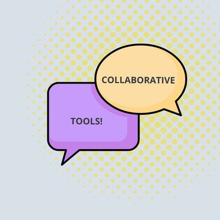 Text sign showing Collaborative Tools. Business photo text Private Social Network to Connect thru Online Email Pair of Overlapping Blank Speech Bubbles of Oval and Rectangular Shape