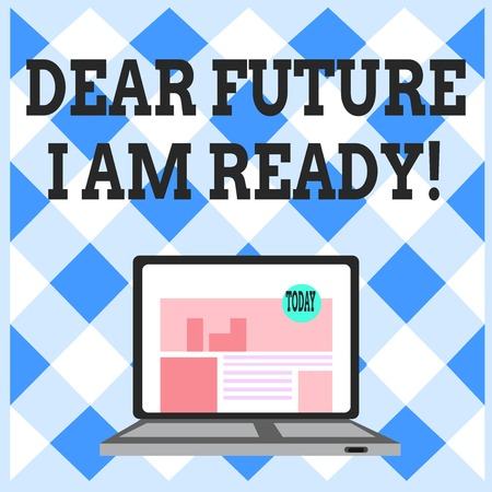 Word writing text Dear Future I Am Ready. Business photo showcasing state action situation being fully prepared Open Modern Laptop Switched On with Website Homepage on Screen Web Search