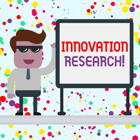 Conceptual hand writing showing Innovation Research. Concept meaning Existing Products Services come into New Being Office Worker Sunglass Blank Whiteboard Meeting Presentation