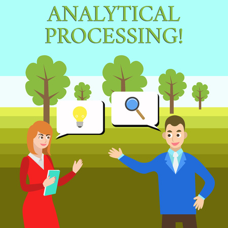 Word writing text Analytical Processing. Business photo showcasing easily View Write Reports Data Mining and Discovery Business Partners Colleagues Jointly Seeking Problem Solution Generate Idea