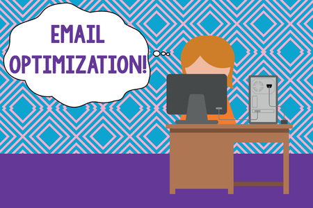 Conceptual hand writing showing Email Optimization. Concept meaning Maximize the effectiveness of the marketing campaign Young female working in office computer office monitor photo