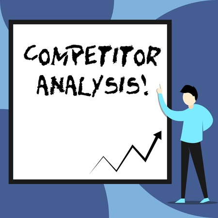 Word writing text Competitor Analysis. Business photo showcasing Determine the Strength Weakness of Competitive Market View young man standing pointing up blank rectangle Geometric background