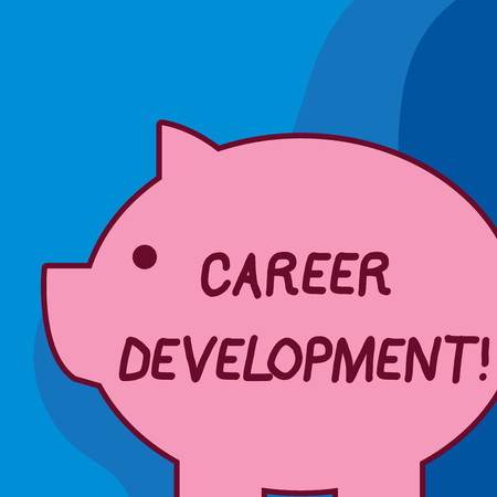 Conceptual hand writing showing Career Development. Concept meaning Lifelong learning Improving skills to get a better job Fat huge pink pig plump like piggy bank with ear and small eye