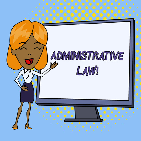 Word writing text Administrative Law. Business photo showcasing Body of Rules regulations Orders created by a government White Female in Standing Pointing Blank Screen Whiteboard Presentation