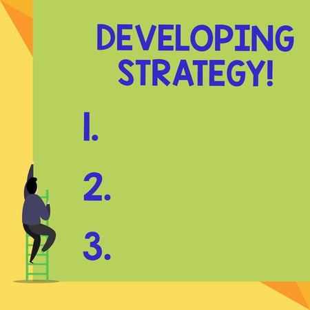 Writing note showing Developing Strategy. Business concept for Organizations Process Changes to reach Objectives Back view Man climbing up staircase ladder lying big blank rectangle Standard-Bild