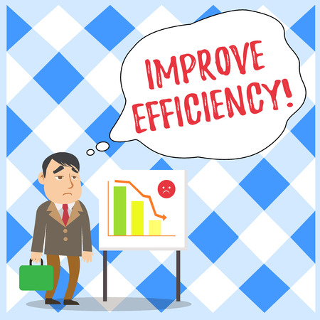 Word writing text Improve Efficiency. Business photo showcasing Competency in perforanalysisce with Least Waste of Effort Businessman Clerk with Brief Case Standing Whiteboard Declining Bar Chart