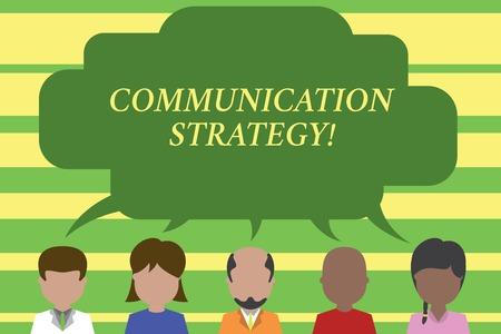 Signe texte montrant la stratégie de communication. Texte photo d'entreprise Plans verbaux non verbaux ou visuels d'objectif et de méthode Cinq races différentes personnes partageant une bulle de dialogue vide. Les gens parlent