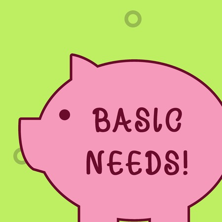 Handwriting text writing Basic Needs. Conceptual photo measurement of absolute poverty in developing countries Fat huge pink pig plump like piggy bank with sharp ear and small round eye