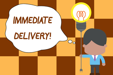 Conceptual hand writing showing Immediate Delivery. Concept meaning Send it Now Custom Procedure to dispose Promptly Standing man tie holding plug socket light bulb Idea Startup