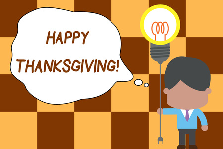 Conceptual hand writing showing Happy Thanksgiving. Concept meaning Harvest Festival National holiday celebrated in November Standing man tie holding plug socket light bulb Idea Startup Stock Photo