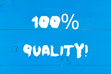 Writing note showing 100 Percent Quality. Business concept for Guaranteed pure and no harmful chemicals Top Excellence Wooden texture old vintage background horizontal boards holes