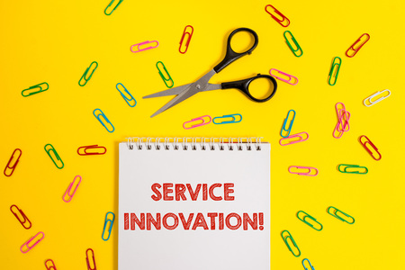 Word writing text Service Innovation. Business photo showcasing Improved Product Line Services Introduce upcoming trend Blank no color spiral notepad scissors clips colored background design