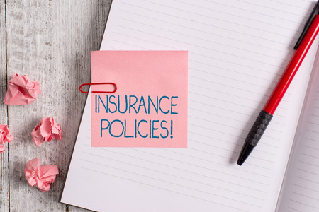 Word writing text Insurance Policies. Business photo showcasing Documented Standard Form Contract Financial Reimbursement Thick pages notebook stationary placed above classic look wooden backdrop Banque d'images