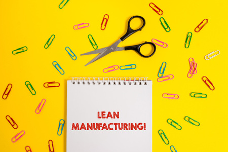 Word writing text Lean Manufacturing. Business photo showcasing Waste Minimization without sacrificing productivity Blank no color spiral notepad scissors clips colored background design Stock Photo