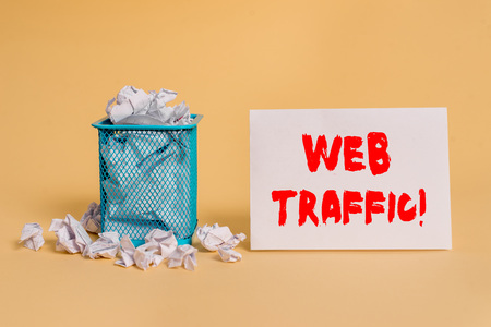 Handwriting text Web Traffic. Conceptual photo amount of data sent and received by visitors to website crumpled paper trash and stationary with empty paper placed in trash can Stock Photo